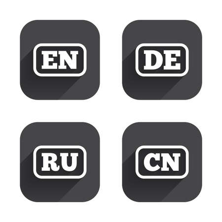 Language icons. EN, DE, RU and CN translation symbols. English, German, Russian and Chinese languages. Square flat buttons with long shadow.