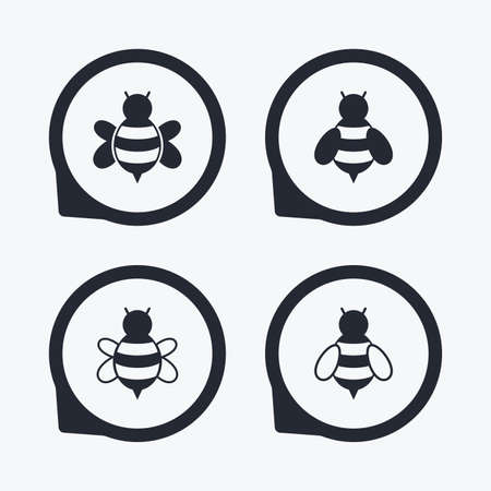 pollination: Honey bees icons. Bumblebees symbols. Flying insects with sting signs. Flat icon pointers.