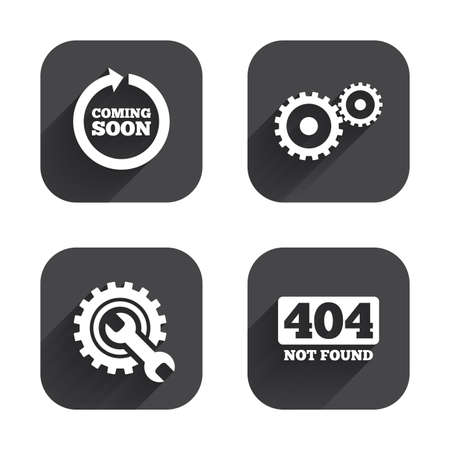 screw key: Coming soon rotate arrow icon. Repair service tool and gear symbols. Wrench sign. 404 Not found. Square flat buttons with long shadow. Illustration