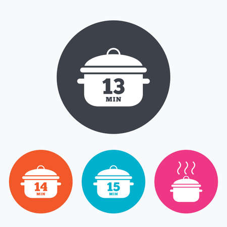 14: Cooking pan icons. Boil 13, 14 and 15 minutes signs. Stew food symbol. Circle flat buttons with icon.