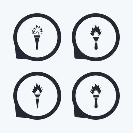 flaming: Torch flame icons. Fire flaming symbols. Hand tool which provides light or heat. Flat icon pointers.