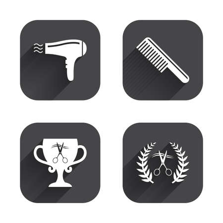 blow drying: Hairdresser icons. Scissors cut hair symbol. Comb hair with hairdryer symbol. Barbershop laurel wreath winner award. Square flat buttons with long shadow.