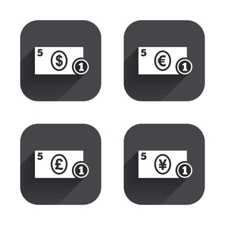 withdrawals: Businessman case icons. Dollar, yen, euro and pound currency sign symbols. Square flat buttons with long shadow.