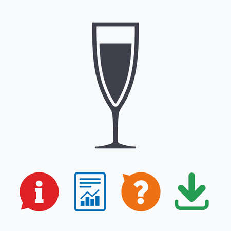 champagne celebration: Glass of champagne sign icon. Sparkling wine. Celebration or banquet alcohol drink symbol. Information think bubble, question mark, download and report.