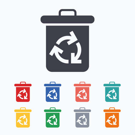 utilization: Recycle bin icon. Reuse or reduce symbol. Colored flat icons on white background.