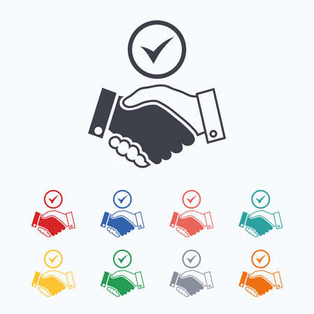 logo handshake: Tick handshake sign icon. Successful business with check mark symbol. Colored flat icons on white background.