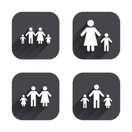orphan: Family with two children icon. Parents and kids symbols. One-parent family signs. Mother and father divorce. Square flat buttons with long shadow.
