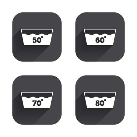 washable: Wash icons. Machine washable at 50, 60, 70 and 80 degrees symbols. Laundry washhouse signs. Square flat buttons with long shadow.