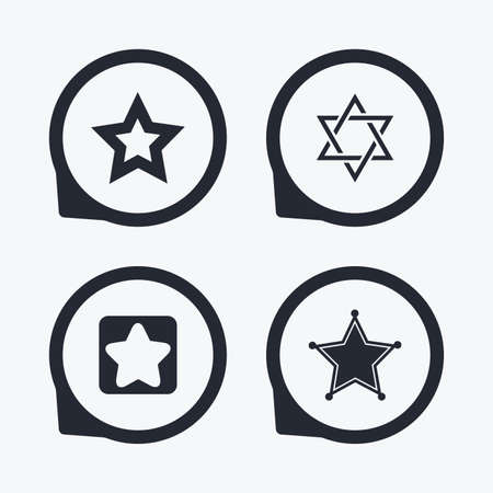 zion: Star of David icons. Sheriff police sign. Symbol of Israel. Flat icon pointers.