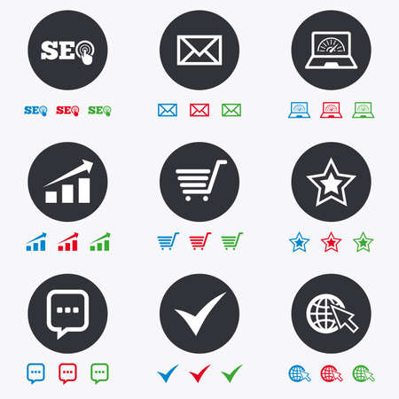 bandwidth: Internet, seo icons. Tick, online shopping and chart signs. Bandwidth, mobile device and chat symbols. Flat circle buttons with icons.