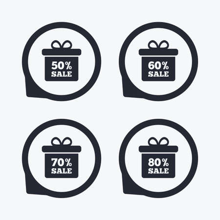 50 to 60: Sale gift box tag icons. Discount special offer symbols. 50%, 60%, 70% and 80% percent sale signs. Flat icon pointers. Illustration