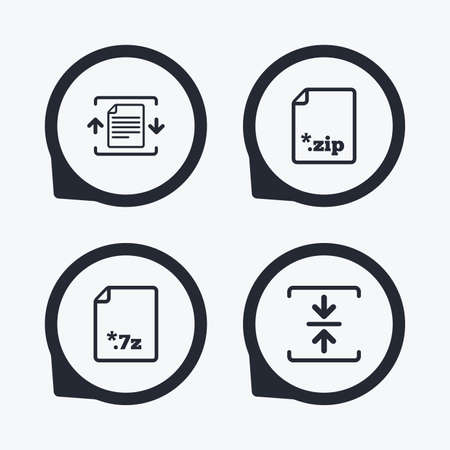 compressed: Archive file icons. Compressed zipped document signs. Data compression symbols. Flat icon pointers. Illustration
