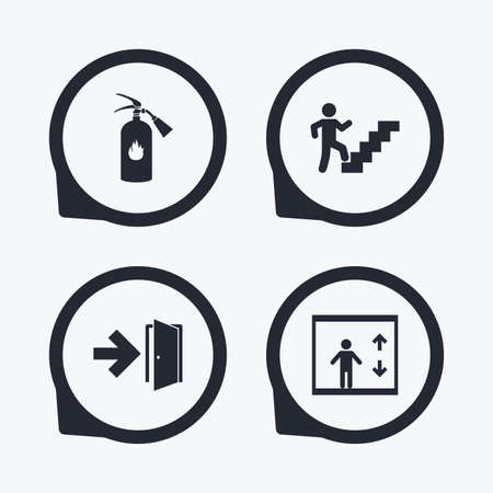 stairwell: Emergency exit icons. Fire extinguisher sign. Elevator or lift symbol. Fire exit through the stairwell. Flat icon pointers.