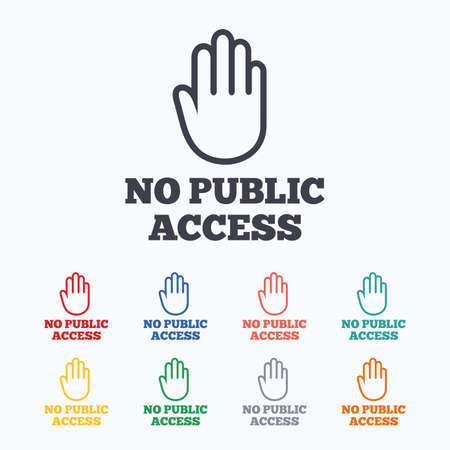 hand stop: No public access sign icon. Caution hand stop symbol. Colored flat icons on white background.