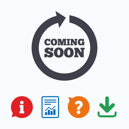 shopping questions: Coming soon sign icon. Promotion announcement symbol. Information think bubble, question mark, download and report. Illustration