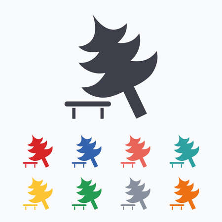 break down: Falling tree sign icon. Caution break down christmas tree symbol. Colored flat icons on white background.