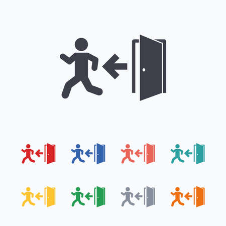 emergency exit sign icon: Emergency exit with human figure sign icon. Door with left arrow symbol. Fire exit. Colored flat icons on white background.