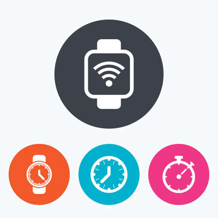digital clock: Smart watch wi-fi icons. Mechanical clock time, Stopwatch timer symbols. Wrist digital watch sign. Circle flat buttons with icon.