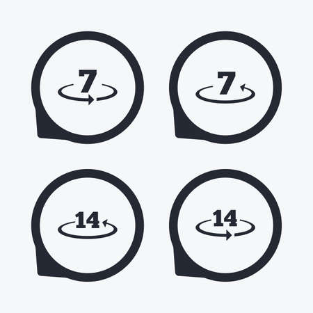 days: Return of goods within 7 or 14 days icons. Warranty 2 weeks exchange symbols. Flat icon pointers.