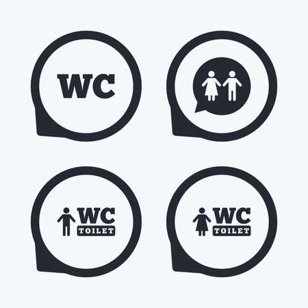sex positions: WC Toilet icons. Gents and ladies room signs. Man and woman speech bubble symbol. Flat icon pointers.