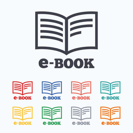 reader: E-Book sign icon. Electronic book symbol. Ebook reader device. Colored flat icons on white background. Illustration