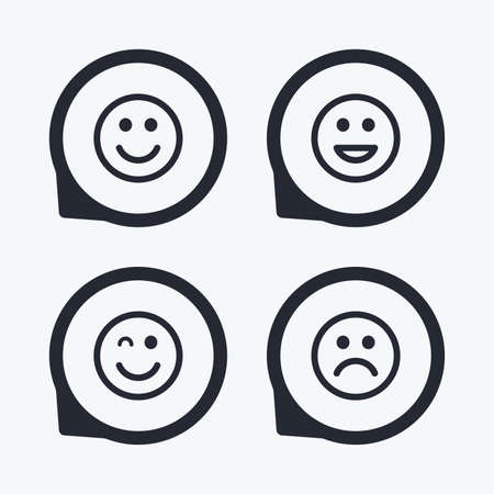 lol: Smile icons. Happy, sad and wink faces symbol. Laughing lol smiley signs. Flat icon pointers. Illustration