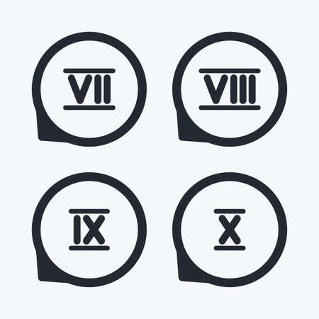 7 8: Roman numeral icons. 7, 8, 9 and 10 digit characters. Ancient Rome numeric system. Flat icon pointers. Illustration