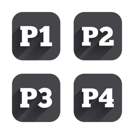 second floor: Car parking icons. First, second, third and four floor signs. P1, P2, P3 and P4 symbols. Square flat buttons with long shadow. Illustration