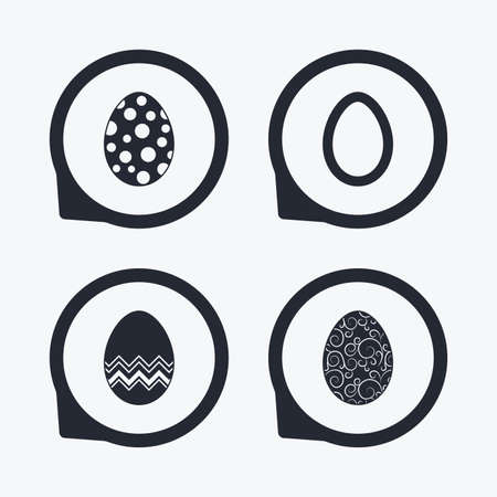 pasch: Easter eggs icons. Circles and floral patterns symbols. Tradition Pasch signs. Flat icon pointers. Illustration