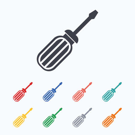 screwdriver: Screwdriver tool sign icon. Fix it symbol. Repair sign. Colored flat icons on white background.