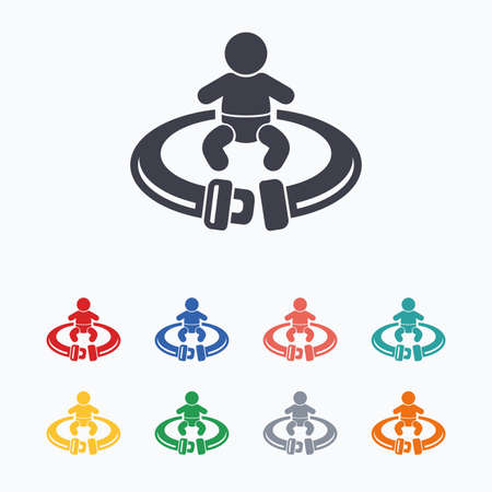 fasten: Fasten seat belt sign icon. Child safety in accident. Colored flat icons on white background. Illustration