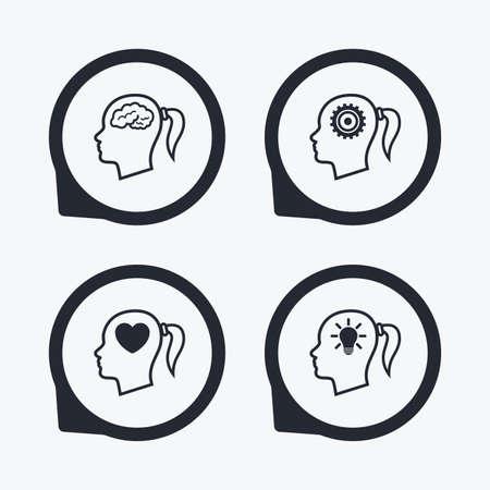 position d amour: T�te avec le cerveau et lampe id�e ampoule ic�nes. femme Femme pense symboles. engrenages � cr�maill�re signes. Coeur d'amour. Flat icon pointeurs.