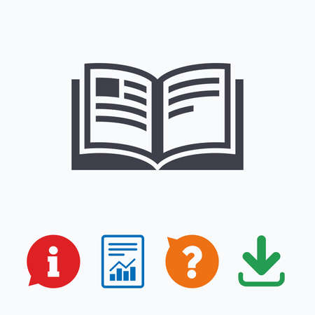 book mark: Book sign icon. Open book symbol. Information think bubble, question mark, download and report.