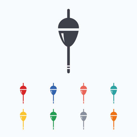 tackle: Fishing sign icon. Float bobber symbol. Fishing tackle. Colored flat icons on white background.
