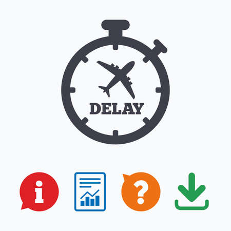 delayed: Delayed flight sign icon. Airport delay timer symbol. Airplane icon. Information think bubble, question mark, download and report.