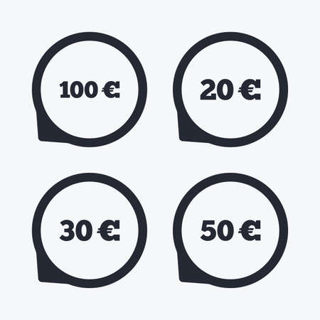Money in Euro icons. 100, 20, 30 and 50 EUR symbols. Money signs Flat icon pointers. Illustration
