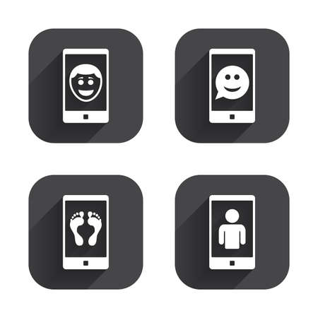 video call: Selfie smile face icon. Smartphone video call symbol. Self feet or legs photo. Square flat buttons with long shadow. Illustration