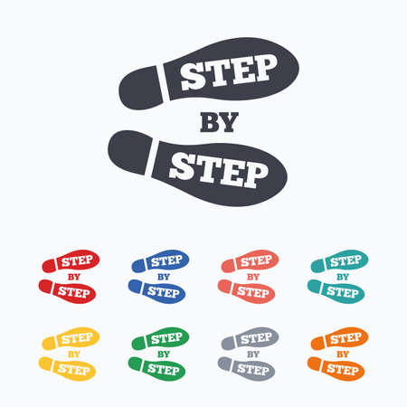 color registration: Step by step sign icon. Footprint shoes symbol. Colored flat icons on white background.