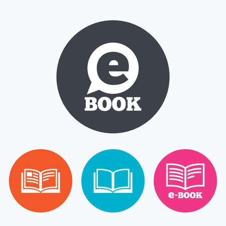 e book reader: Electronic book icons. E-Book symbols. Speech bubble sign. Circle flat buttons with icon. Illustration