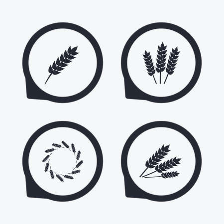 crop circle: Agricultural icons. Gluten free or No gluten signs. Wreath of Wheat corn symbol. Flat icon pointers.