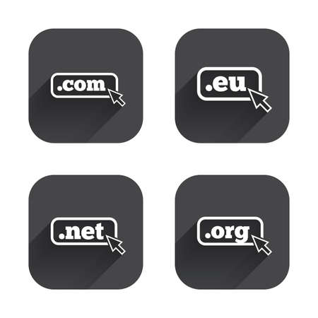 dns: Top-level internet domain icons. Com, Eu, Net and Org symbols with cursor pointer. Unique DNS names. Square flat buttons with long shadow.