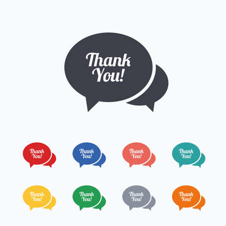 thanks a lot: Speech bubble thank you sign icon. Customer service symbol. Colored flat icons on white background. Illustration