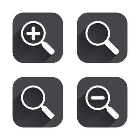 closer: Magnifier glass icons. Plus and minus zoom tool symbols. Search information signs. Square flat buttons with long shadow.