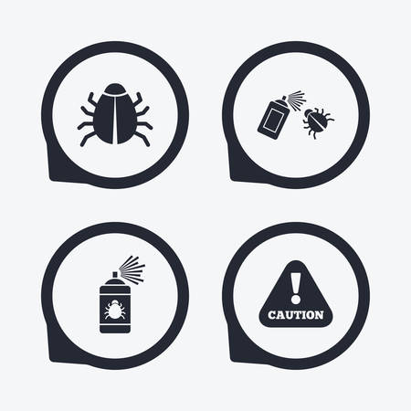 disinfection: Bug disinfection icons. Caution attention symbol. Insect fumigation spray sign. Flat icon pointers. Illustration