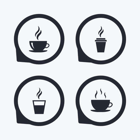 take away: Coffee cup icon. Hot drinks glasses symbols. Take away or take-out tea beverage signs. Flat icon pointers. Illustration