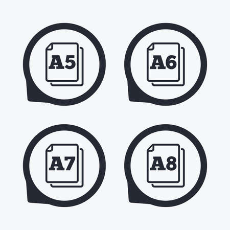 a7: Paper size standard icons. Document symbols. A5, A6, A7 and A8 page signs. Flat icon pointers.