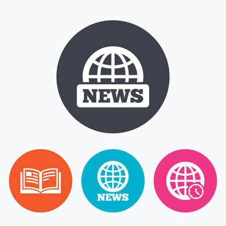 literatura: Iconos de noticias. símbolos globo terráqueo. signo de libro abierto. literatura de la educación. Un círculo botones planos con el icono.