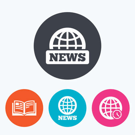 literature: News icons. World globe symbols. Open book sign. Education literature. Circle flat buttons with icon.