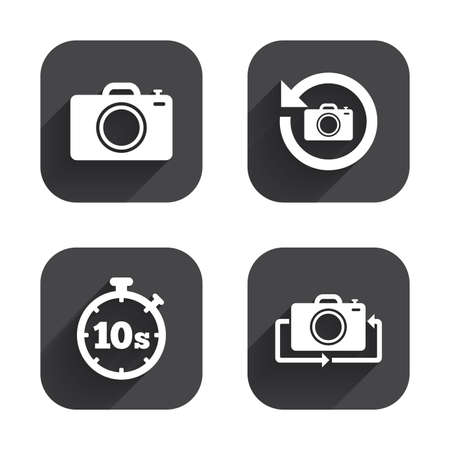 seconds: Photo camera icon. Flip turn or refresh symbols. Stopwatch timer 10 seconds sign. Square flat buttons with long shadow.