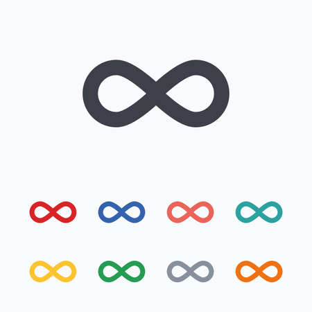 eternally: Limitless sign icon. Infinity symbol. Colored flat icons on white background.